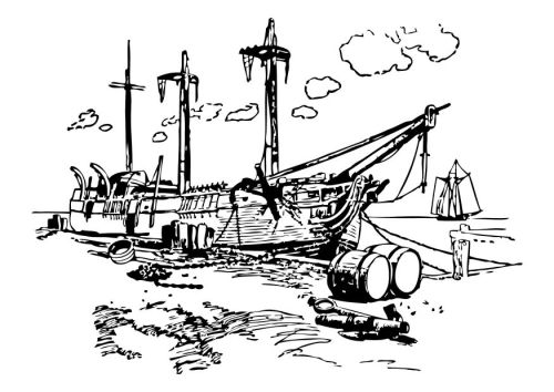 Dibujo Restos naufragio