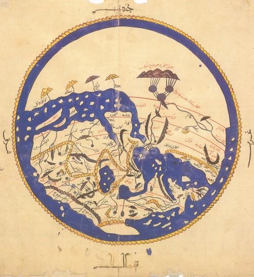Mapa de Al-Idrisi, con los continentes situados de forma contraria a la actual