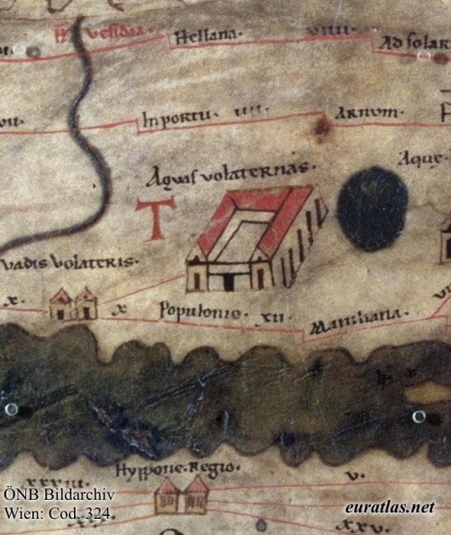 La antigua ciudad aparece en un magnífico mapa medieval conservado en la Biblioteca Nacional de Austria (abajo en el centro, denominada Hippo Regius). Tabula Peutingeriana, 1265.