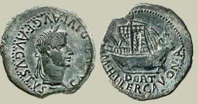 Moneda romana con nave mercante