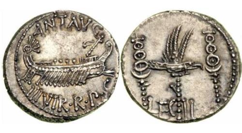 Moneda romana con nave de guerra