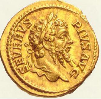 Moneda romana conmemorativa (anverso)