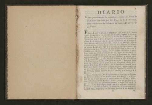 Primera hoja del diario de B. de Gálvez