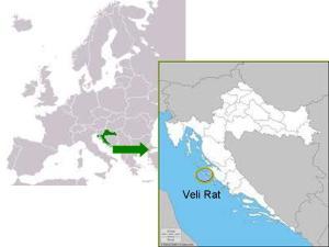 Veli Rat en el mapa de Europa