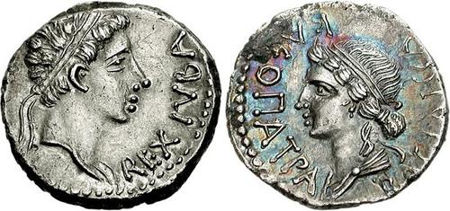 Moneda que representa a Juba II y a su mujer Cleopatra Seelene