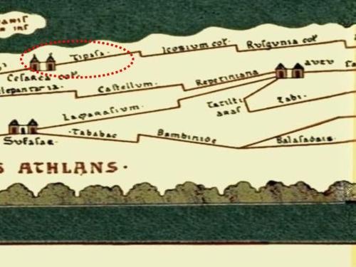 Localización de Tipasa en la antigua Tabula Peutingeriana