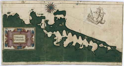 Carta náutica del Cabo Frio (Brasil), datada a principios del siglo XVII