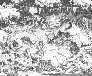 Representación actual de las actividades del pueblo chono.