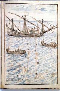 Una de las 3 láminas del libro de pesca de perlas...