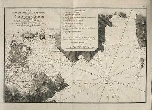 Una carta náutica del Arsenal de Cartagena, levantada por Vicente Tofiño y copiada por la Armada inglesa.
