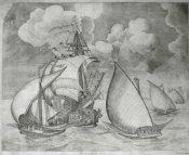 Flota de galeras, escoltadas por una carabela. Obra de Brueghel.