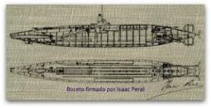 Boceto del submarino, realizado por su inventor