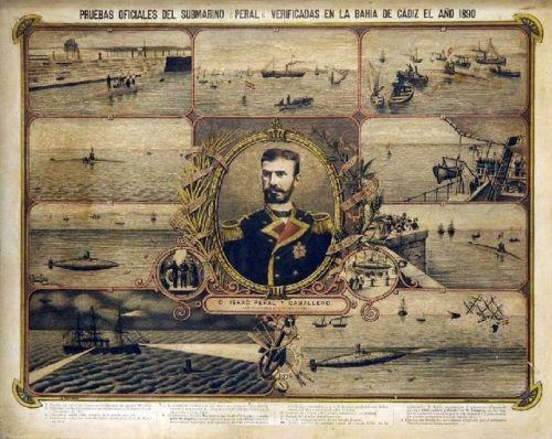Ilustración de las pruebas oficiales superadas por el submarino Peral