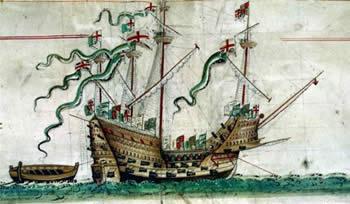 El Mary Rose en un dibujo de