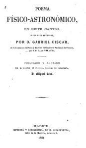 Portad del poema que escribió Ciscar en su destierro de Gibraltar