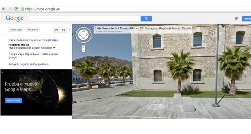 Vista lateral del Museo Naval de Cartagena, desde Google Maps. Aquí se imparte el Máster en Historia y Patrimonio Naval.