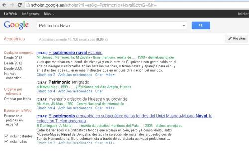 """Búsqueda """"Patrimonio Naval"""" en Google Académico."""