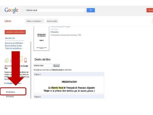 Pantalla de Google Books en la que señalamos la  opción sobre cómo generar una biblioteca personal con los libros  encontrados