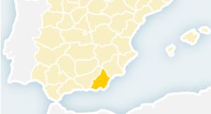 Almería situada en el mapa peninsular