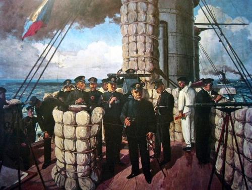 El almirante Togo izando la ICS Z en Tsushima