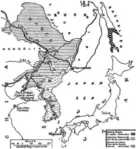 Reparto territorial tras el tratado de paz en 1905