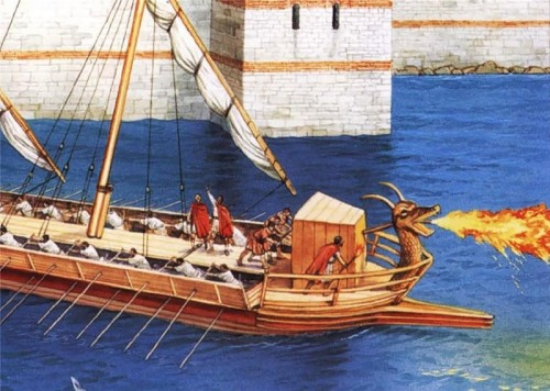 Reproducción de la escena del lanzamiento del fuego marino