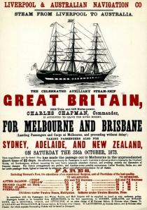 Cartel de la época en la que el buque transportaba a emigrantes