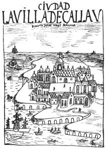 Ciudad la Villa del Callav. Puerto de los Reies de Lima. Principios del s. XVII. Dibujo de Felipe Huamán Poma de Ayala.Fuente:*