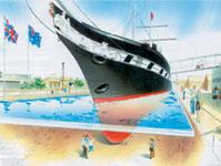 El diseño del dique en el que se expondría el buque