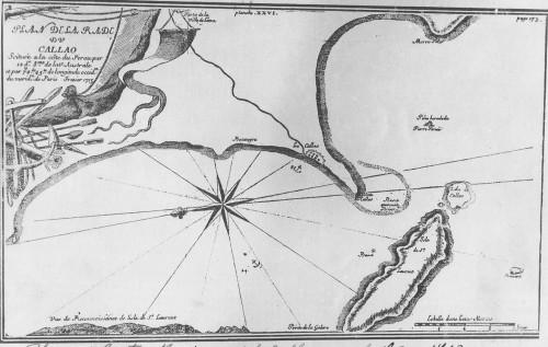 Carta del Callao, 1713. Plan de la Rada del Callao en 1713. Elaborado por el francés Amédee Frézier. (Copia del original existente en la Bibliothéque Nationale de France, Archivo Histórico de Marina, Perú)