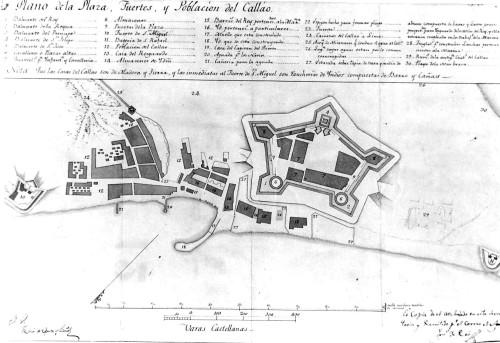 Plano y perfil del Callao que muestra como lucía probablemente antes del terremoto y tsunami de octubre de 1746, levantado a partir de la descripción del Francés Frezier de 1732. (AHM)