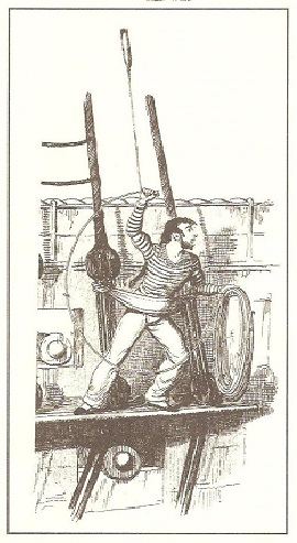 En la figura se ve un marinero voleando el escandallo para sondar mientras el buque sigue navegando. El marinero está sobre la mesa de guarnición de estribor del palo trinquete. En la mano izquierda sostiene las adujas de la sondaleza que largará cuando lance el escandallo.