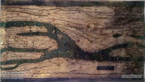 Segmento VI, que es la parte correspondiente al sur de Italia. En ella se puede apreciar la forma de representar la península itálica