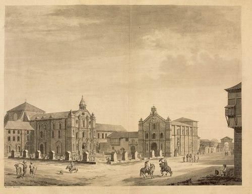 Una plaza de Manila (Filipinas). Ilustración de Malaspina (S. XVIII).