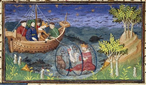 detail-of-a-miniature-of-alexander-exploring-the-ocean-in-a glass barrel, accompanied by a cat and a cock; in this version of the story, his unfaithful wife tries to murder him by cutting the cord connecting him with the ship, and it is by killing the cat (not a dog) that he is able to rise to the surface; from Le livre et le vraye hystoire du bon roy Alixandre, France (Paris), c. 1420, Royal MS 20 B. xx, f. 77v. - See more at: http://britishlibrary.typepad.co.uk/digitisedmanuscripts/2013/01/#sthash.4XxSHTET.dpuf