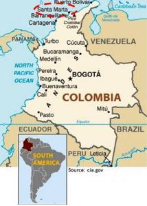 Localización de Santa Marta en el mapa de América del Sur
