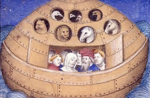 Una ilustración que representa el arca de Noe. British Library.