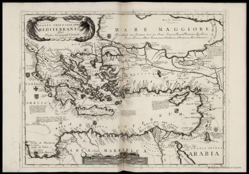 En el Atlante veneto de Coronelli, publicado en 1691, la parte oriental del Mediterráneo seguía denominándose Mare interno