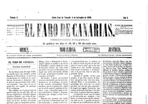 El faro de Canarias, 1869