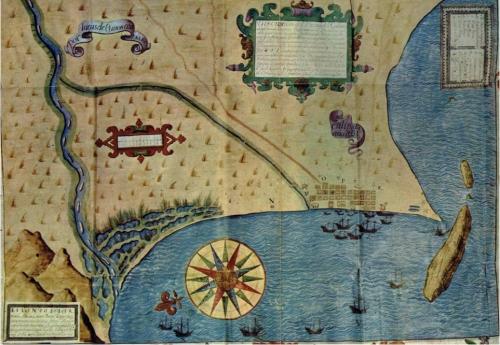 Una carta de 1631 representando parte de la costa  que surcaba la Armada de los Mares del Sur