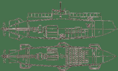 Diagrama de tanques del Submarino Delfin. (Fuente : SubmarineHistory.ru)