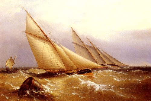 a-schooner-and-cutter-yacht-rounding-a-buoy