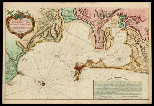 Carta de la Bahía de Cádiz levantad por los franceses en 1762.