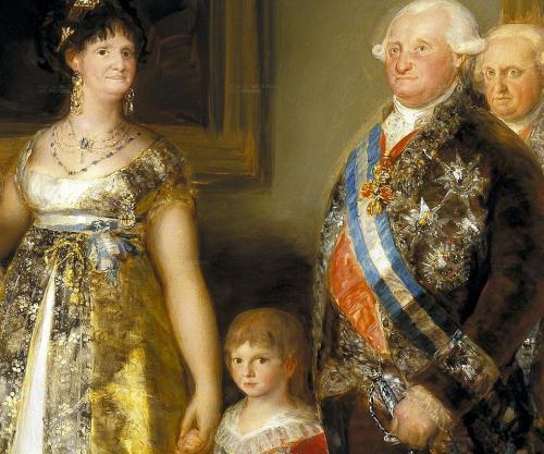 El infante que Napoleón secuestró aparece aquí retratado por Goya,  dela mano de sus padres.