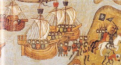 Cruzados desembarcando en Damieta