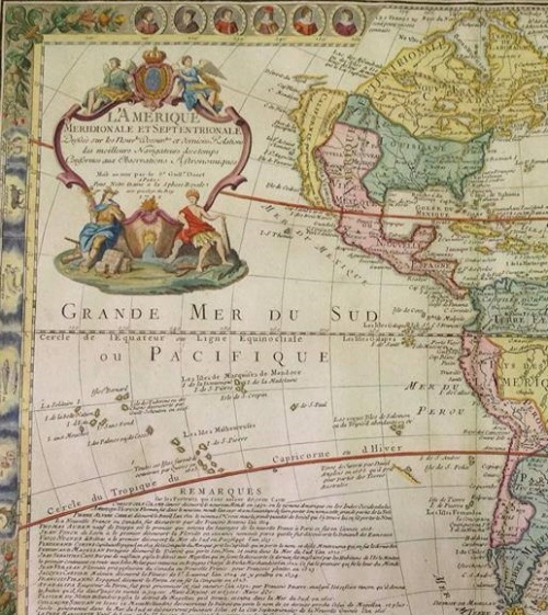 Carta de América. G. Danet, ca 1730