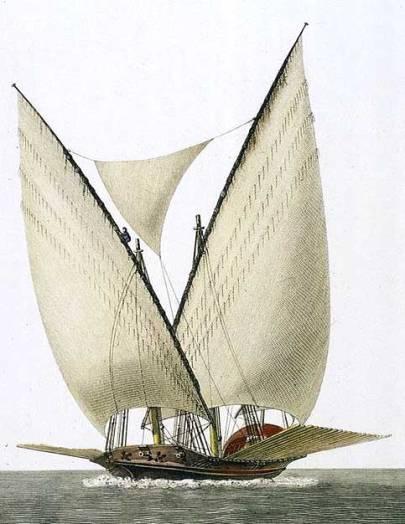"""Galeota española del siglo XVIII de Alejo Berlinguero, Museo Naval de Madrid. La galeota, que va navegando en popa a orejas de mulo, leva izado el trinquete y el bastardo, y entre ambas velas la """"entrepenas"""", y la mesana. Los remos están levados y afrenillados, es decir, con los guiones amarrados a cubierta por cabos llamados frenillos."""