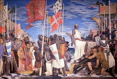 Ricardo partiendo a las Cruzadas