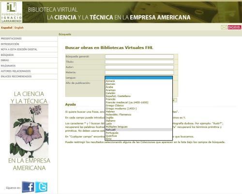 Ejemplo de consulta en la Biblioteca Virtual