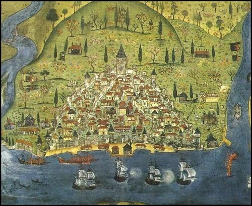 Mapa medieval de la ciudad de Constantinopla, capital de Bizancio, hacia 1300